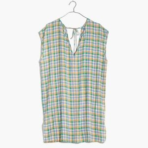 madewell cover-up tunic dress in pastel gingham